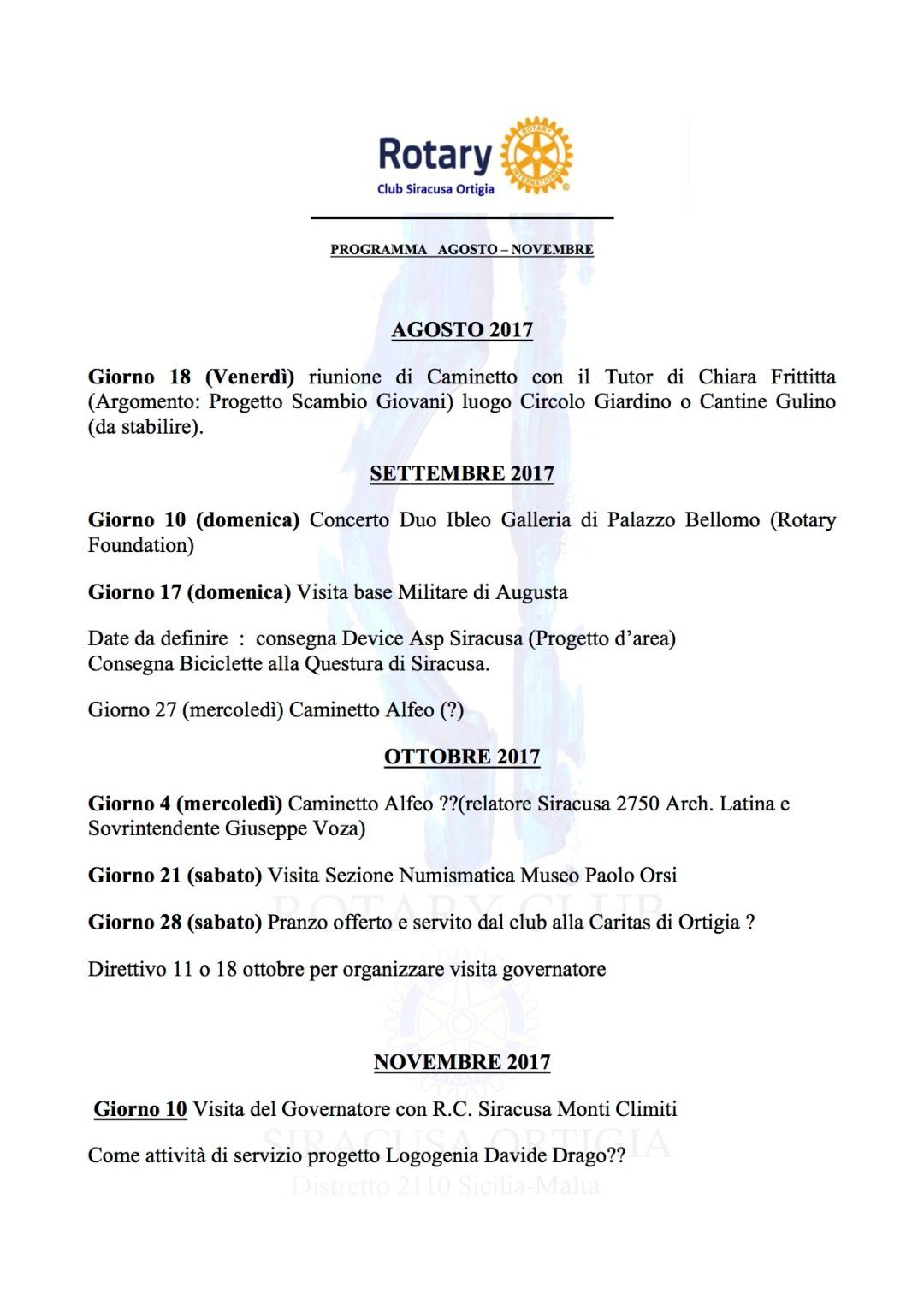 programma agosto-novembre