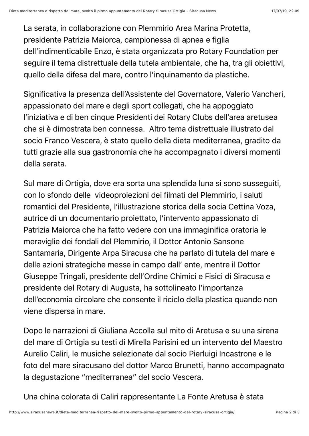 Dieta mediterranea e rispetto del mare, svolto il pirmo appuntamento del Rotary Siracusa Ortigia - Siracusa News 2