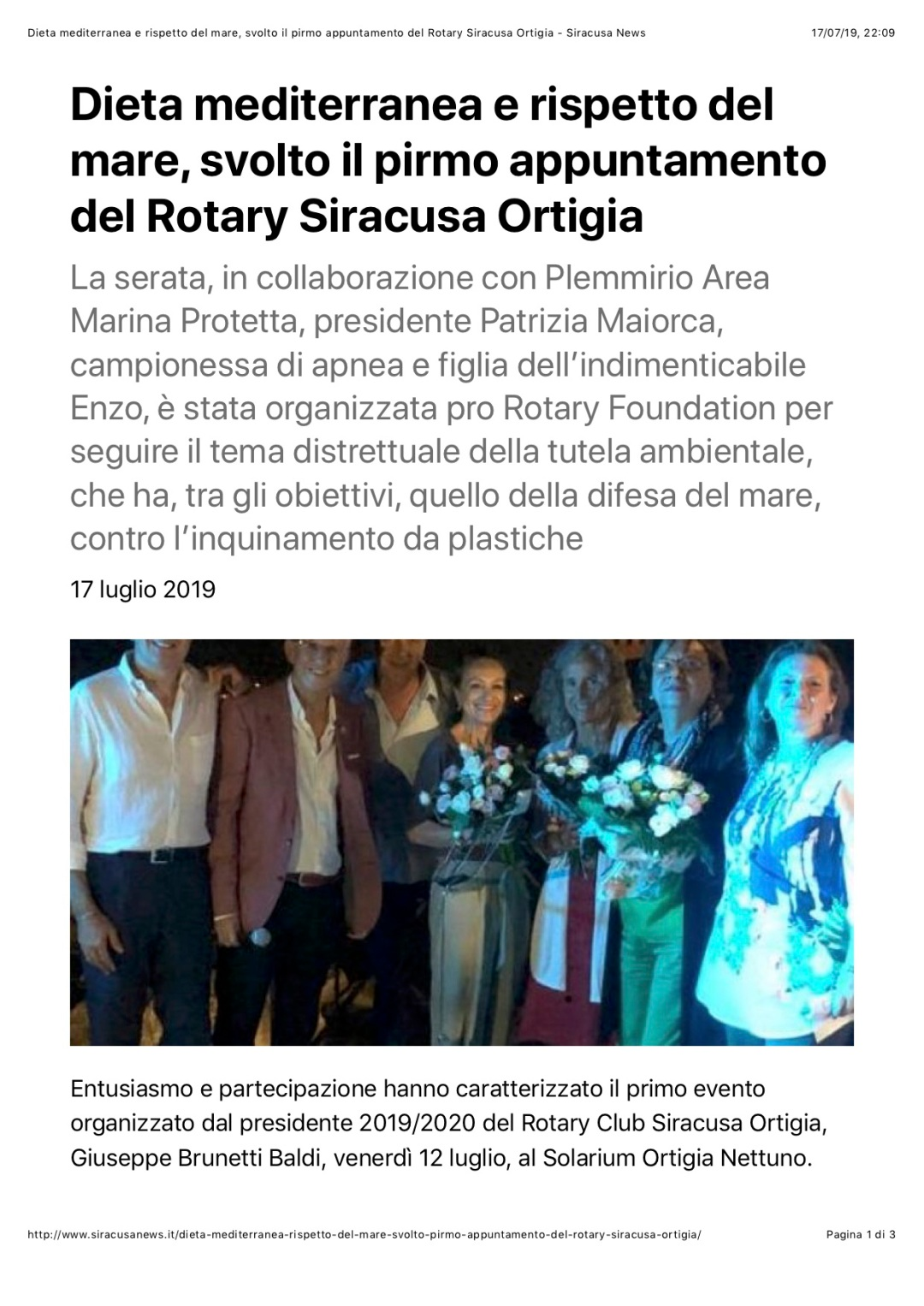 Dieta mediterranea e rispetto del mare, svolto il pirmo appuntamento del Rotary Siracusa Ortigia - Siracusa News